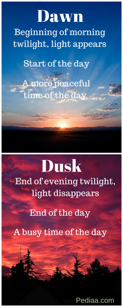 difference between dawn and dusk