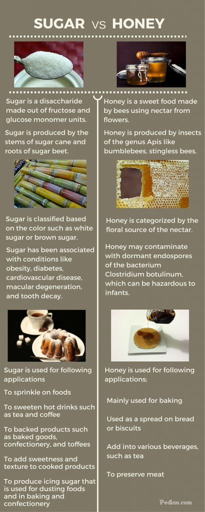 Difference betweenugar and Honey-infographic