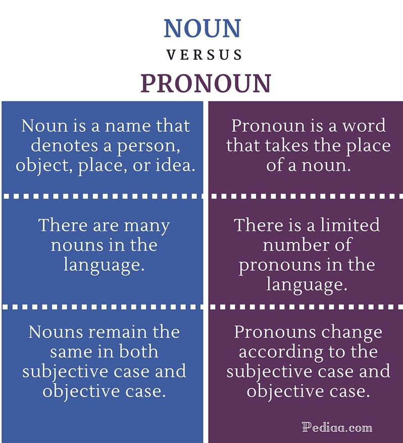 Difference Between Noun and Pronoun - infographic