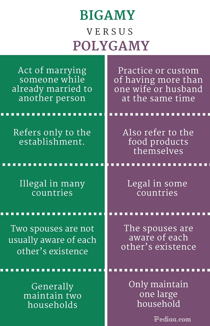 Difference Between Bigamy and Polygamy- infographic