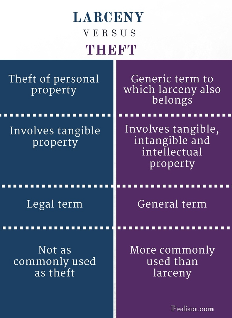 Difference Between Larceny and Theft - infographic