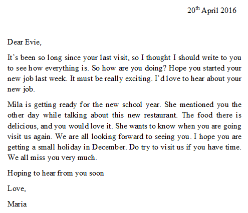 IELTS sample letter: informal letter between friends