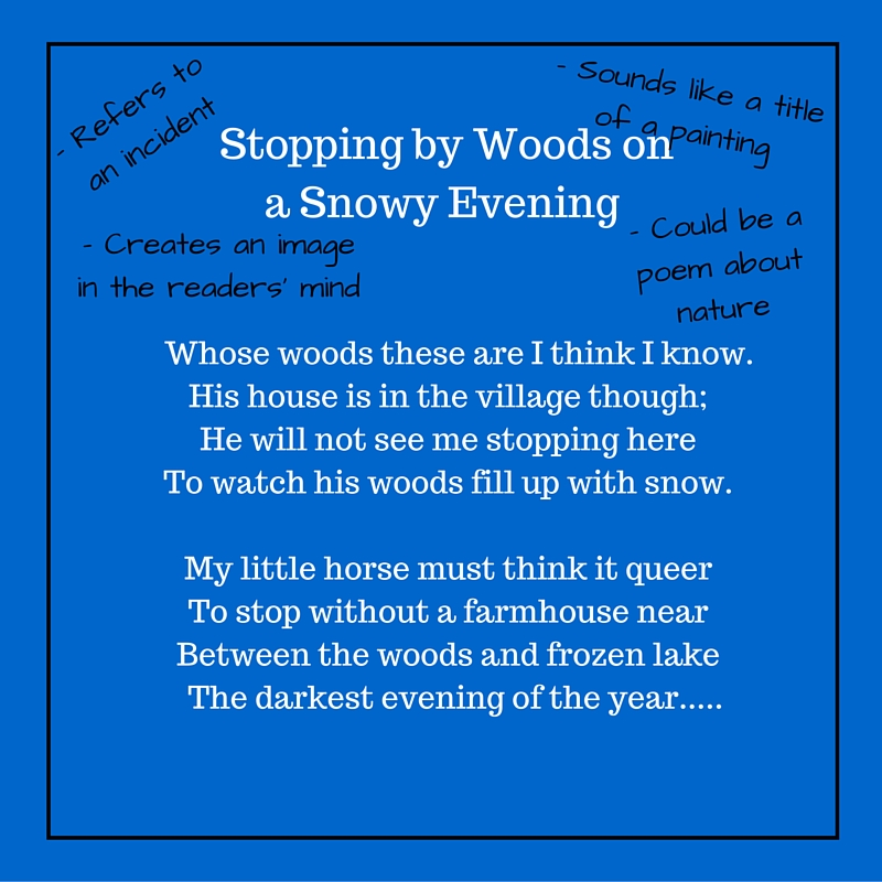 """poem analysis stopping by the woods Stopping by woods on a snowy evening by robert frost helped define poetry for millions of american and especially """"stopping by woods poem analysis."""