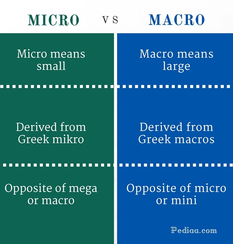 differences between macro and micro environment The following are the major difference between micro (internal) and macro ( external) environment: 1 micro environment is the environment which is in.