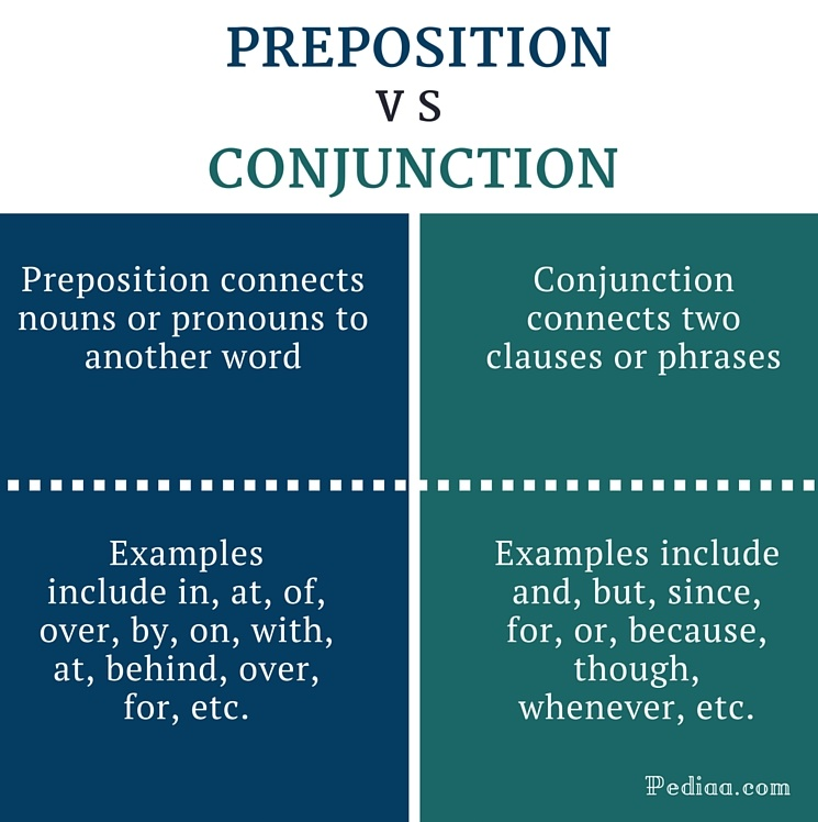 Difference Between Preposition And Conjunction Infographic