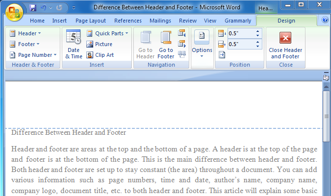 Difference Between Header and Footer - Step 3