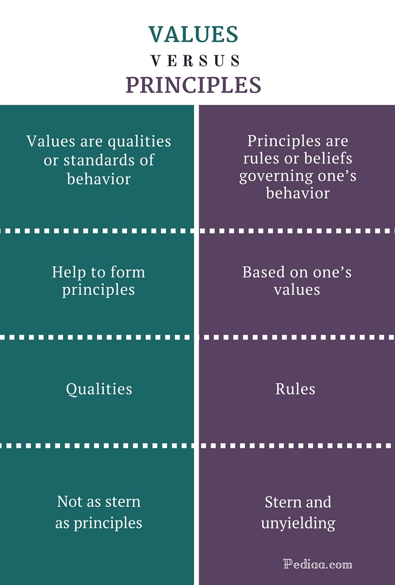 Difference Between Values and Principles- infographic
