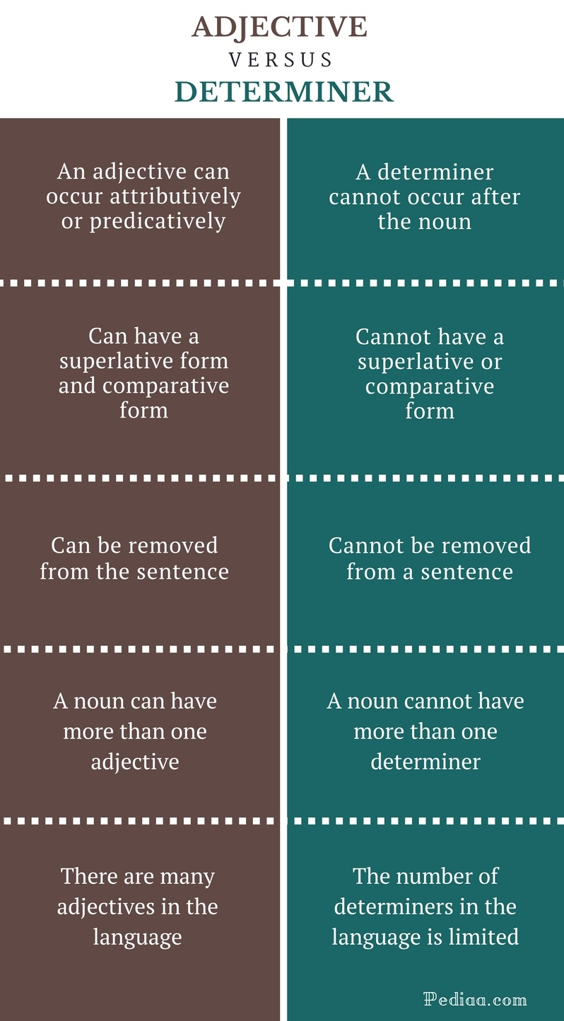 Difference Between Adjective and Determiner - Adjective vs Determiner Comparison Summary