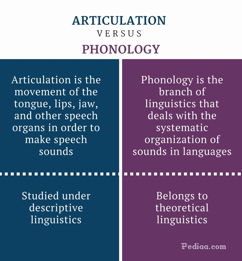 Difference Between Articulation and Phonology - Articulation vs Phonology Comparison Summary