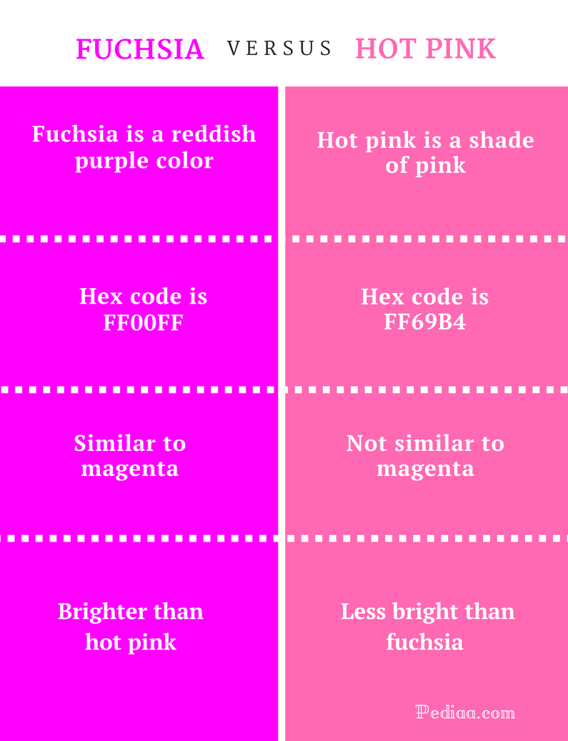 Difference Between Fuchsia and Hot Pink - infographic