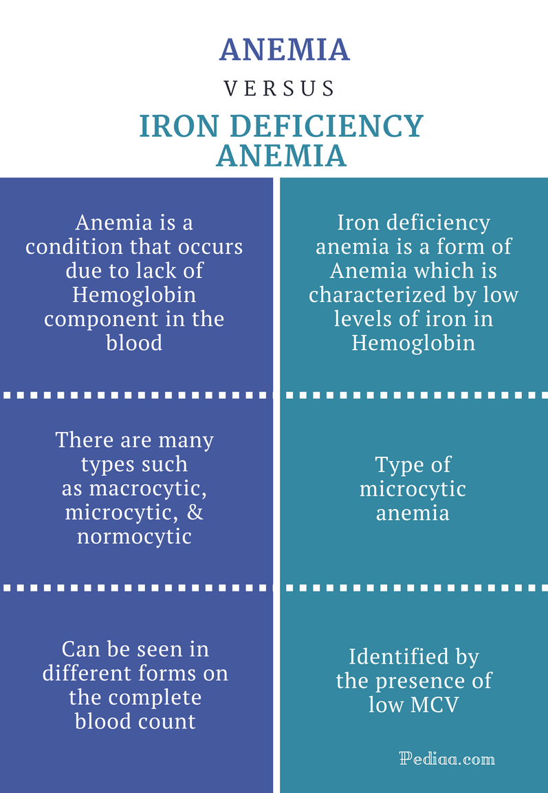 Difference Between Anemia and Iron Deficiency - Comparison Summary