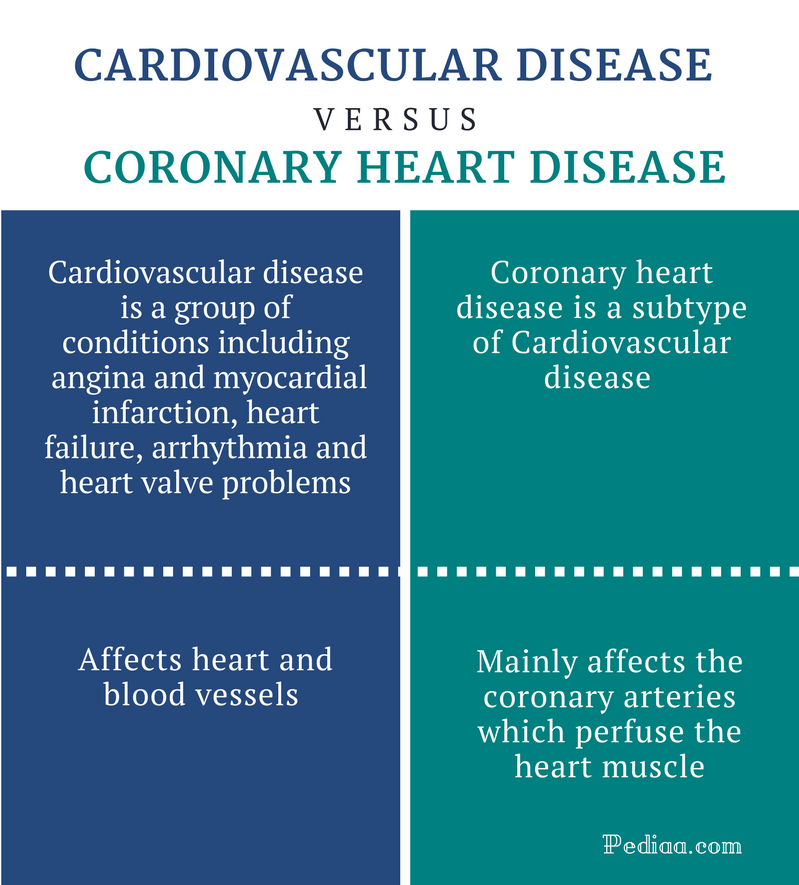 Difference Between Cardiovascular Disease and Coronary Heart Disease - Comparison Summary