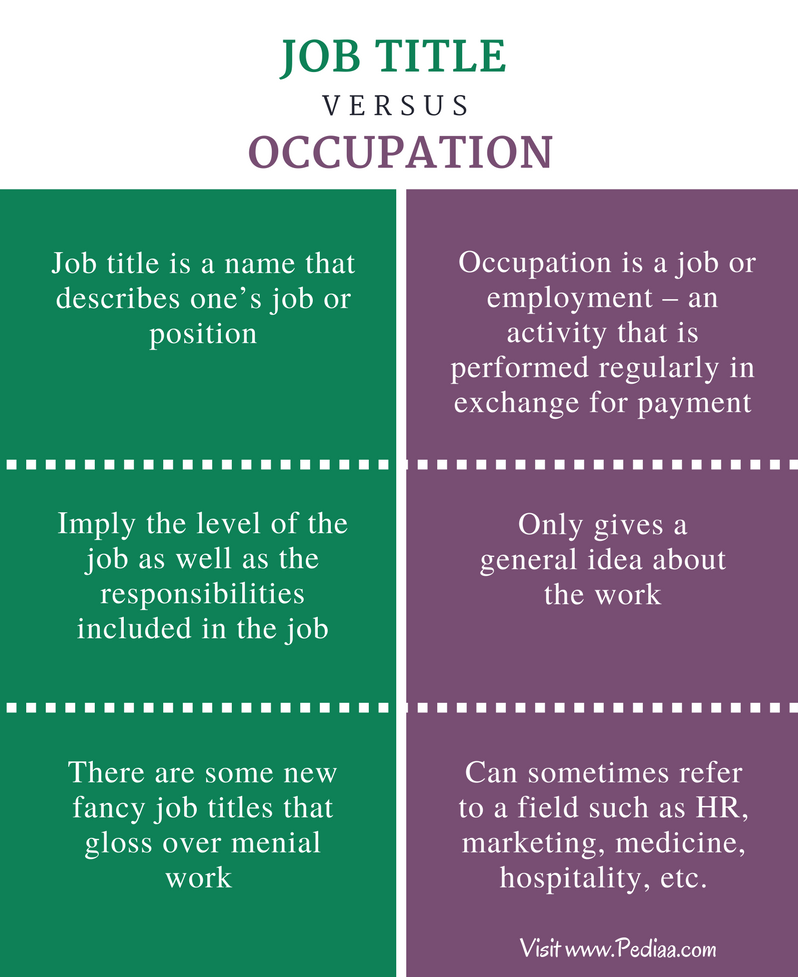 Difference Between Job Title and Occupation - Comparison Summary