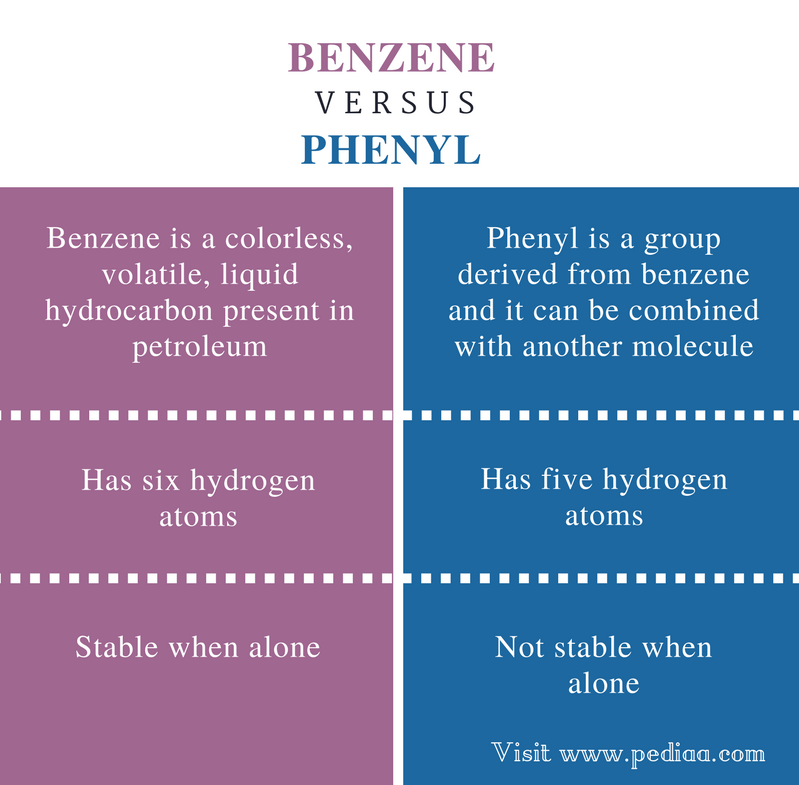 Difference Between Benzene and Phenyl - Comparison Summary