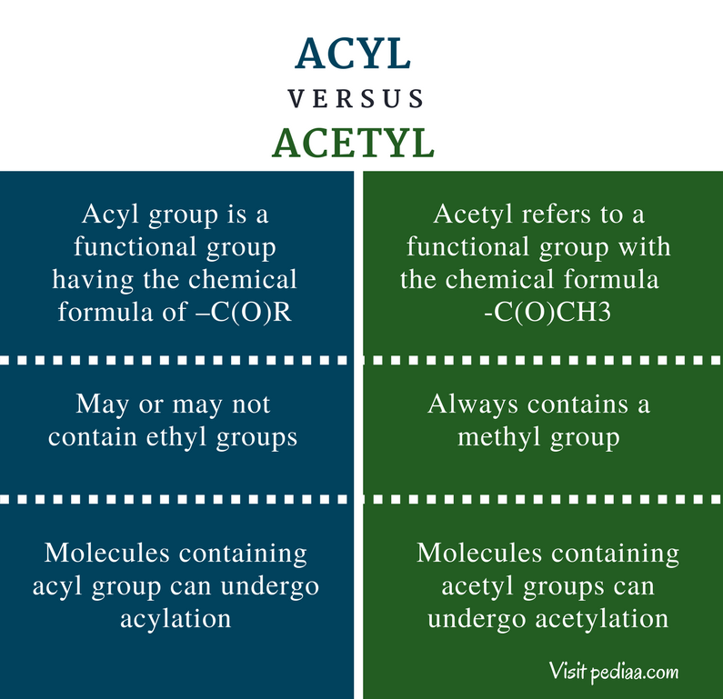 Difference Between Acyl and Acetyl - Comparison Summary