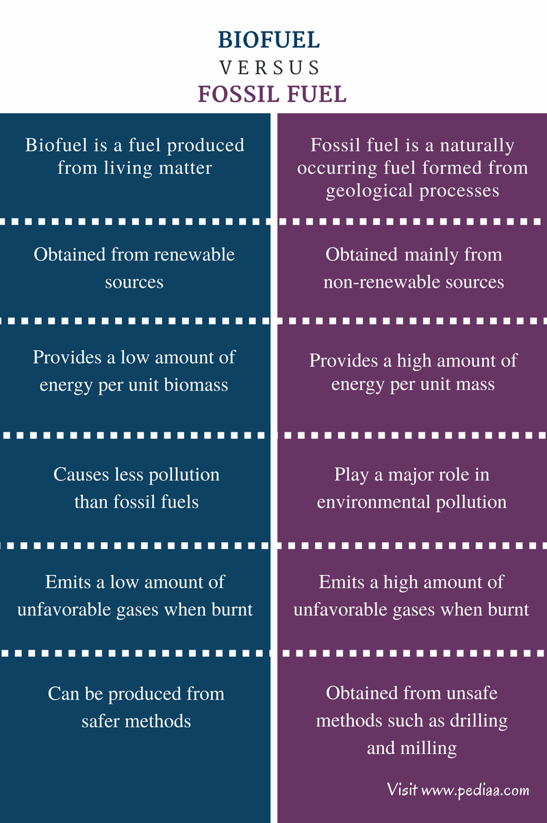 Difference Between Biofuel and Fossil Fuel - Comparison Summary