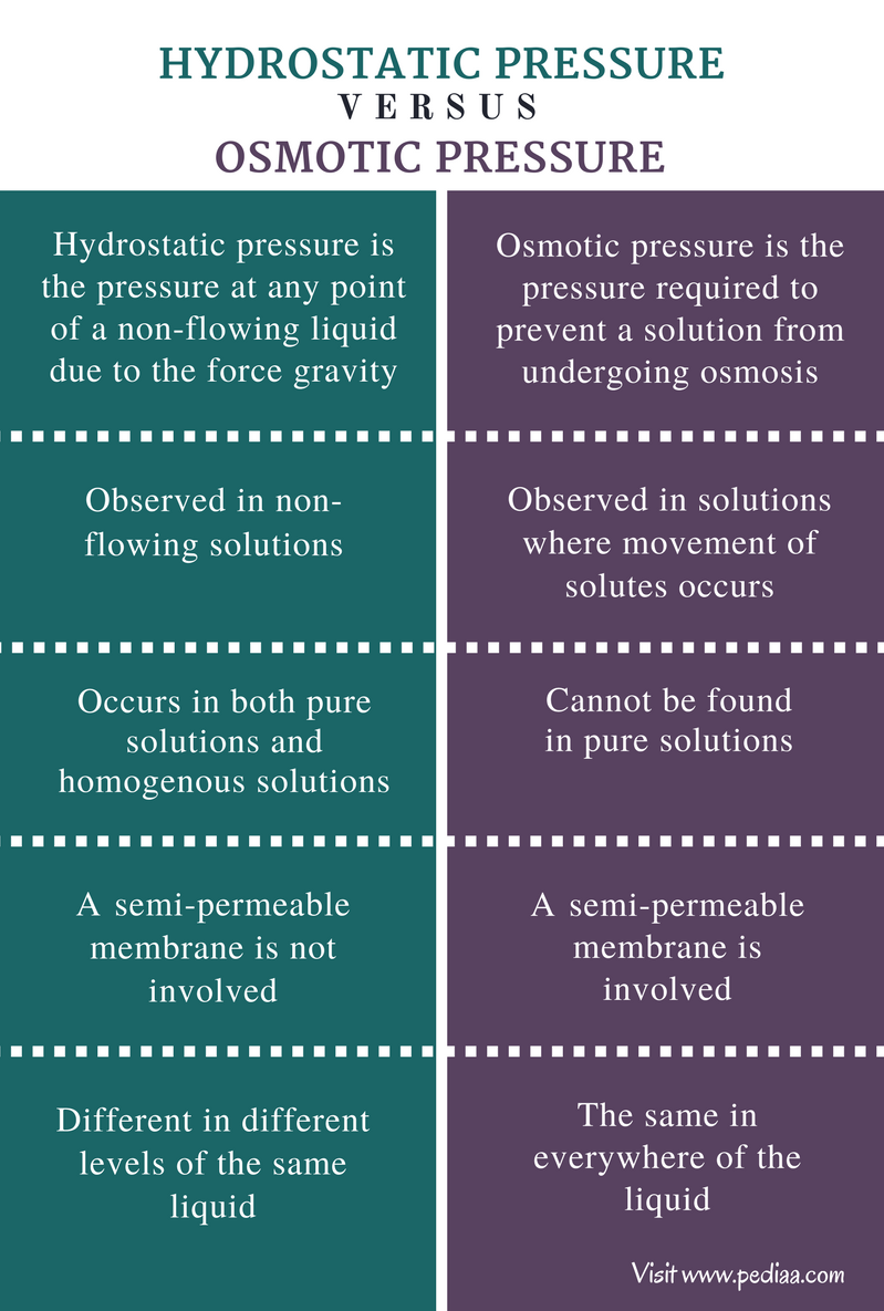 Difference Between Hydrostatic and Osmotic Pressure - Comparison Summary