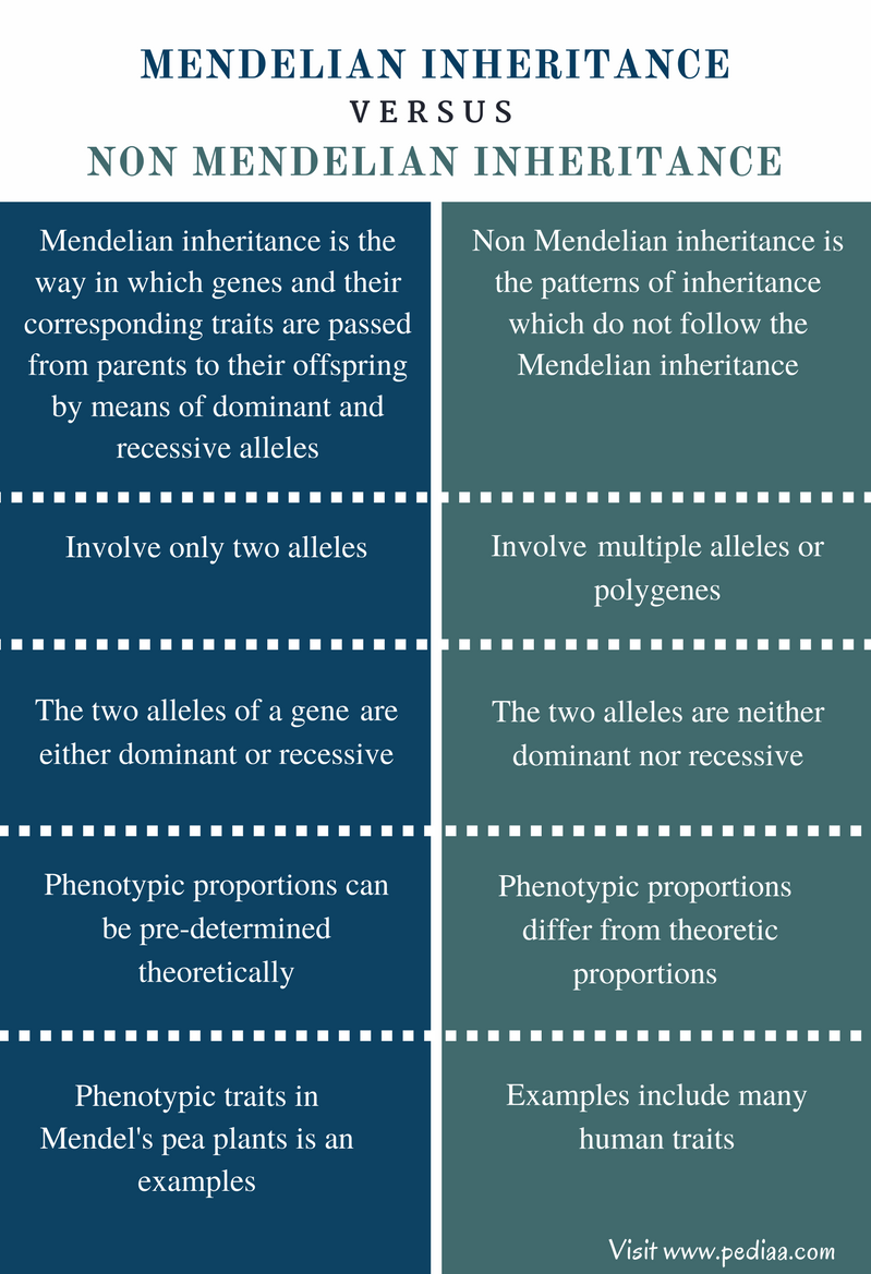 Difference Between Mendelian and Non Mendelian Inheritance - Comparison Summary