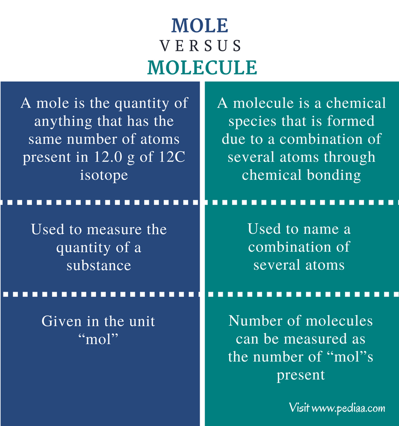 Difference Between Mole and Molecule - Comparison Summary