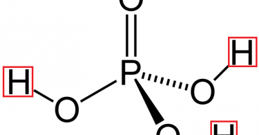 Figure 3: Structure of Phosphoric  Acid (Three Hydrogen atoms are shown in red)