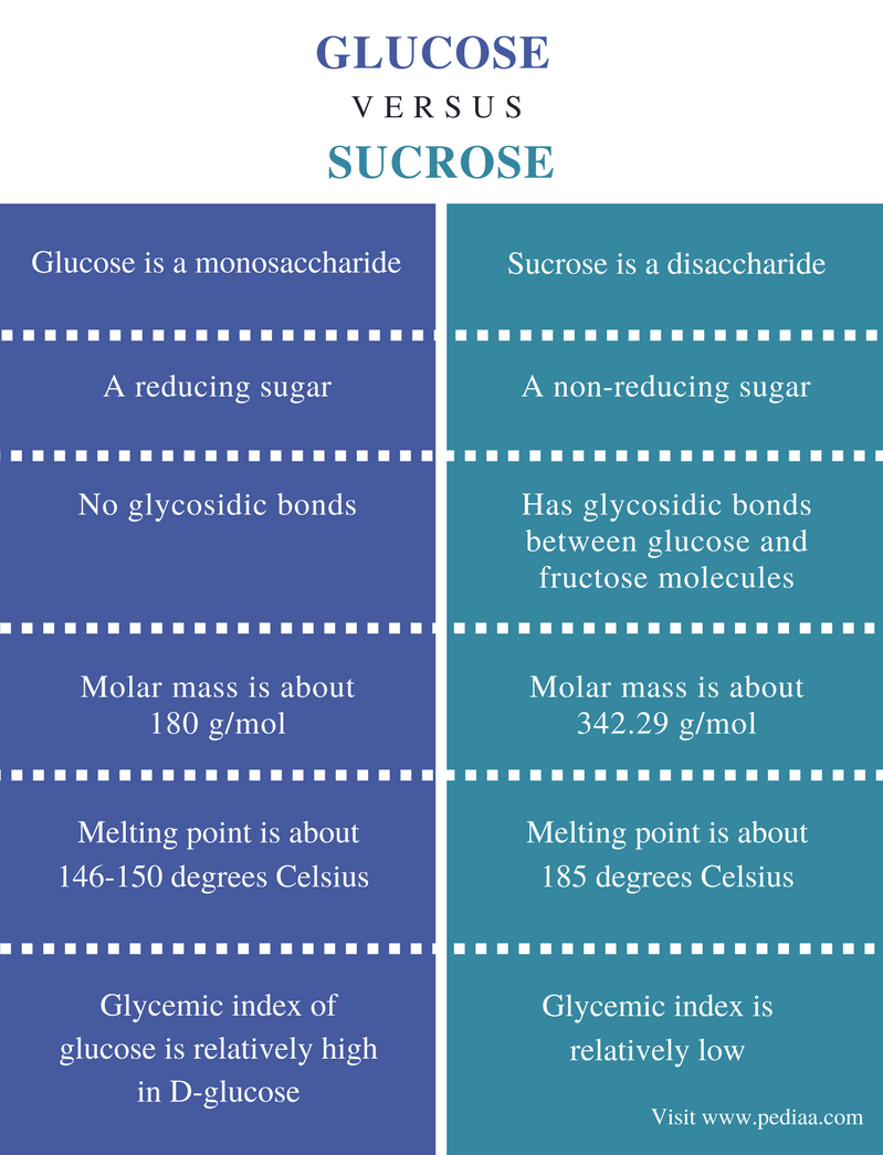 difference between glucose and sucrose definition