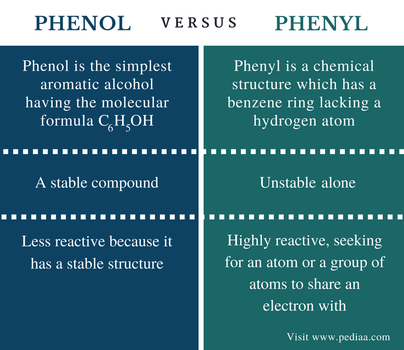 Difference Between Phenol and Phenyl - Comparison Summary