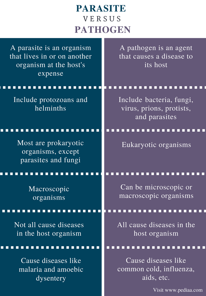 Difference Between Parasite and Pathogen - Comparison Summary