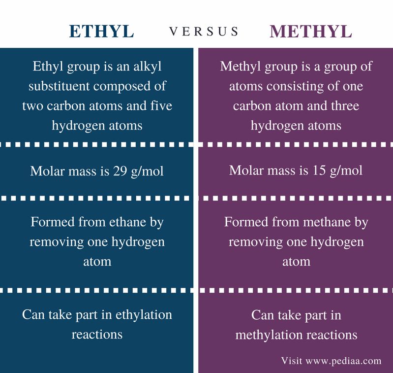 Difference Between Ethyl and Methyl - Comparison Summary
