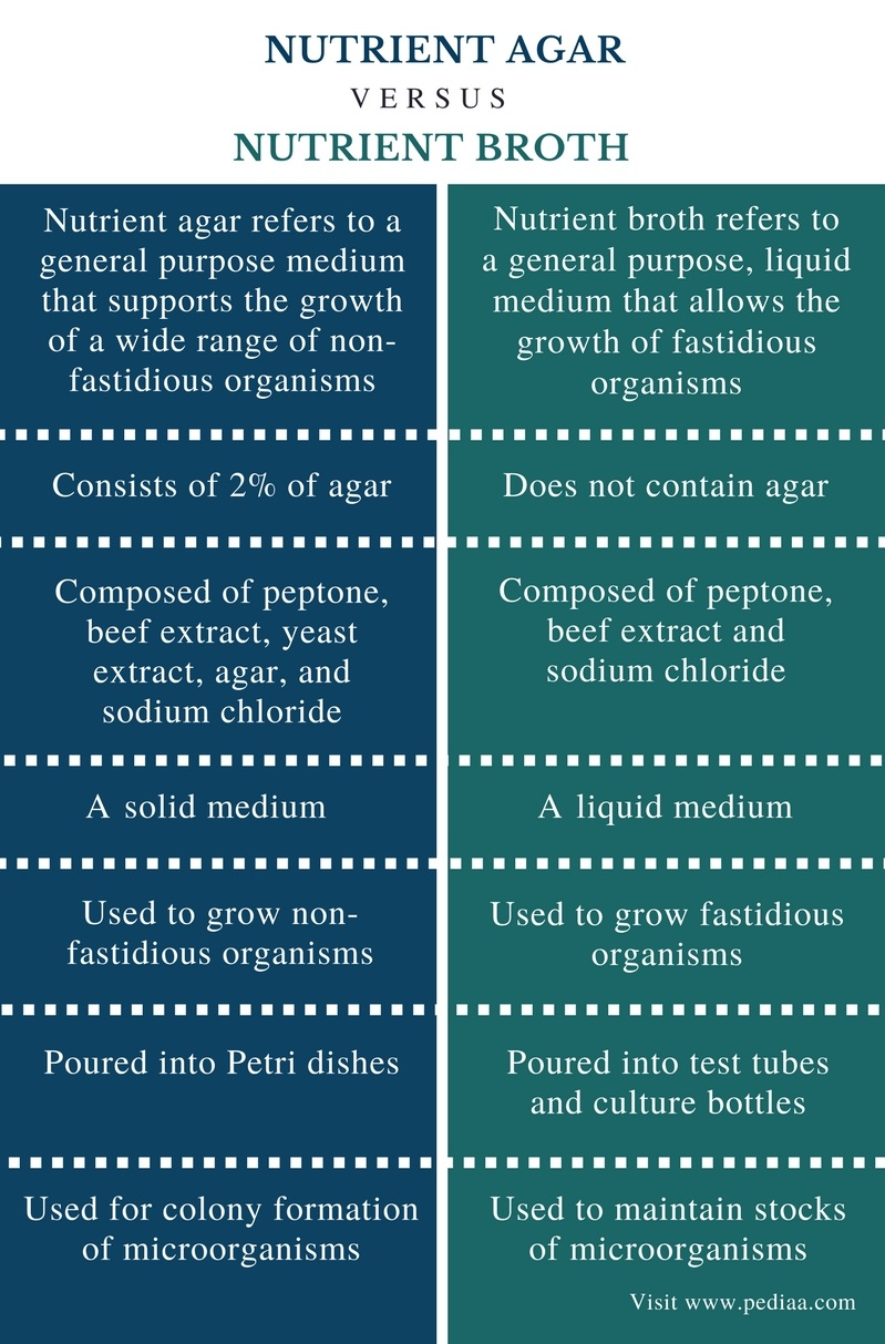 Difference Between Nutrient Agar and Nutrient Broth - Comparison Summary