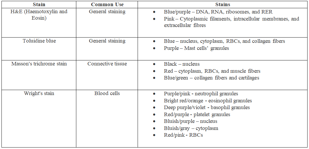 Difference Between Stain and Dye in Histology_Table 1