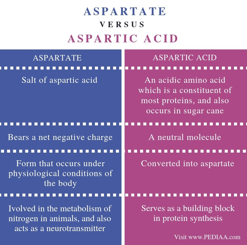 Difference Between Aspartate and Aspartic Acid - Comparison Summary