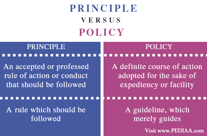 Difference Between Principle and Policy - Comparison Summary