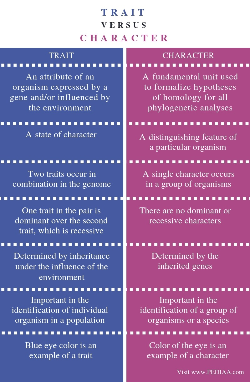 Difference Between Trait and Character - Comparison Summary