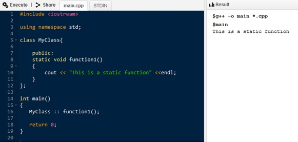 Difference Between Static and Constant Function in C++