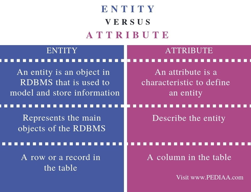Difference Between Entity and Attribute - Comparison Summary