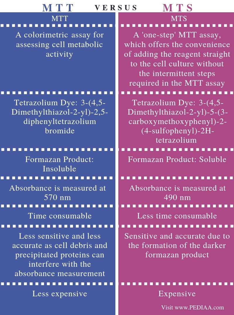 Difference Between MTT and MTS Assay - Comparison Summary