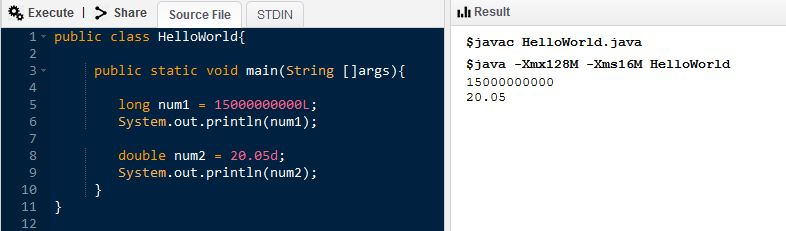 Difference Between long and double in Java