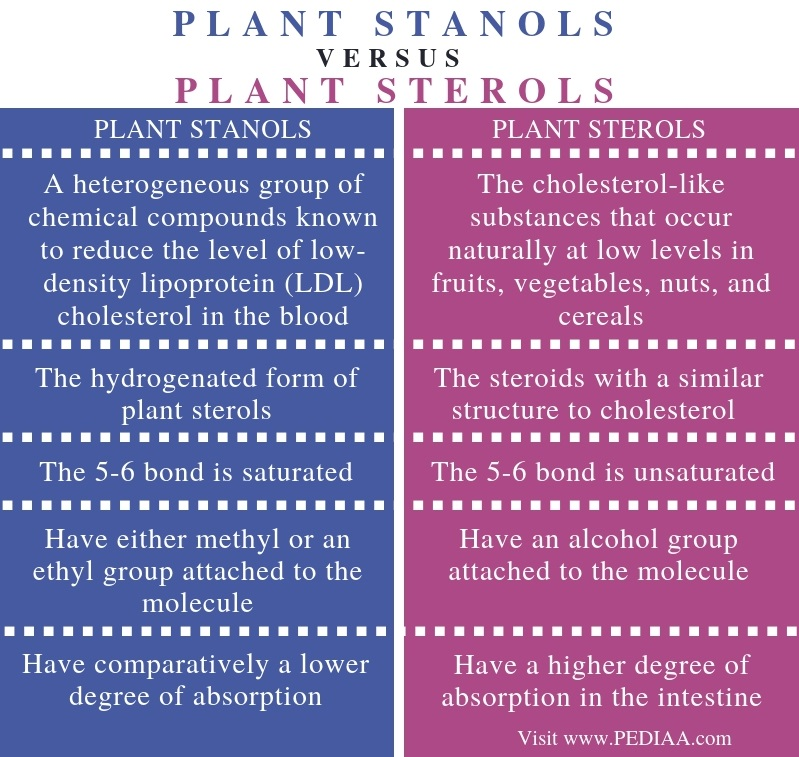 Difference Between Plant Stanols and Sterols - Comparison Summary