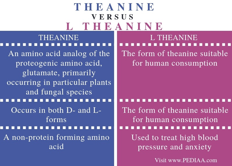 Difference Between Theanine and L Theanine - Comparison Summary