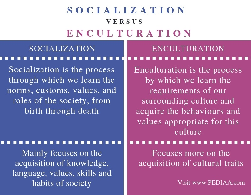 Difference Between Socialization and Enculturation - Comparison Summary