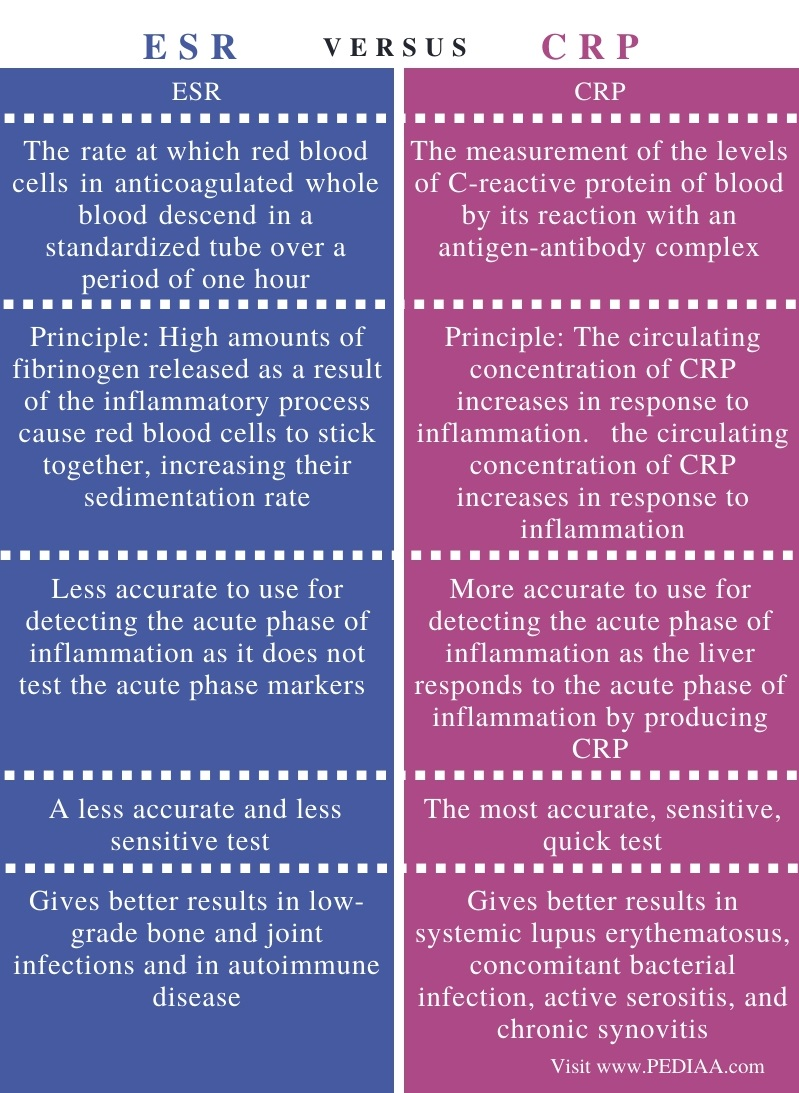 Difference Between ESR and CRP - Comparison Summary