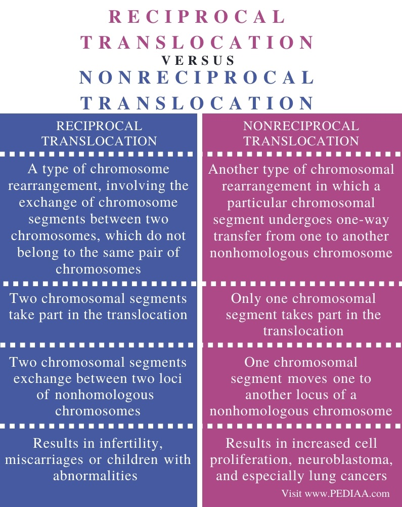 Difference Between Reciprocal and Nonreciprocal Translocation - Comparison Summary