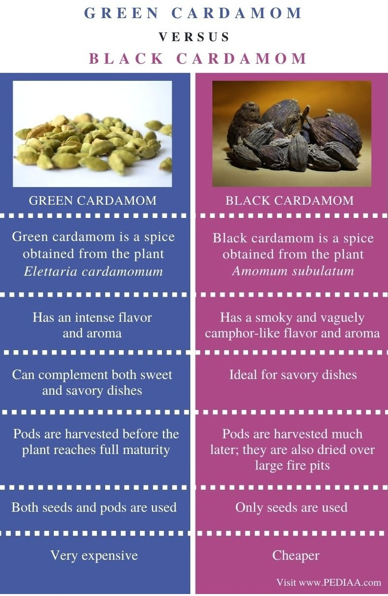 Difference Between Green and Black Cardamom - Comparison Summary