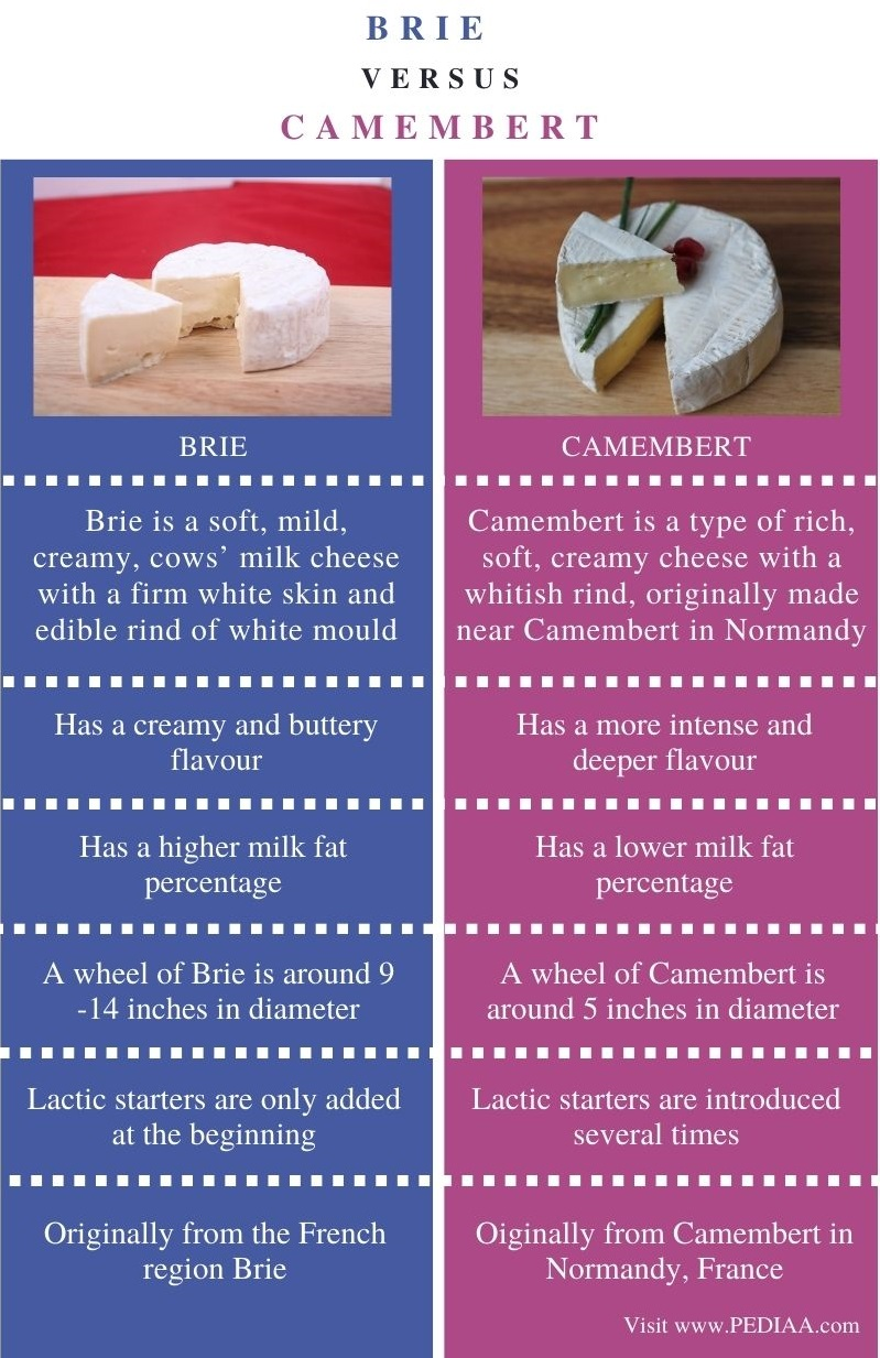 Difference Between Brie and Camembert - Comparison Summary