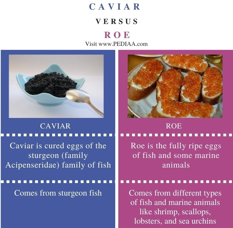Difference Between Caviar and Roe - Comparison Summary