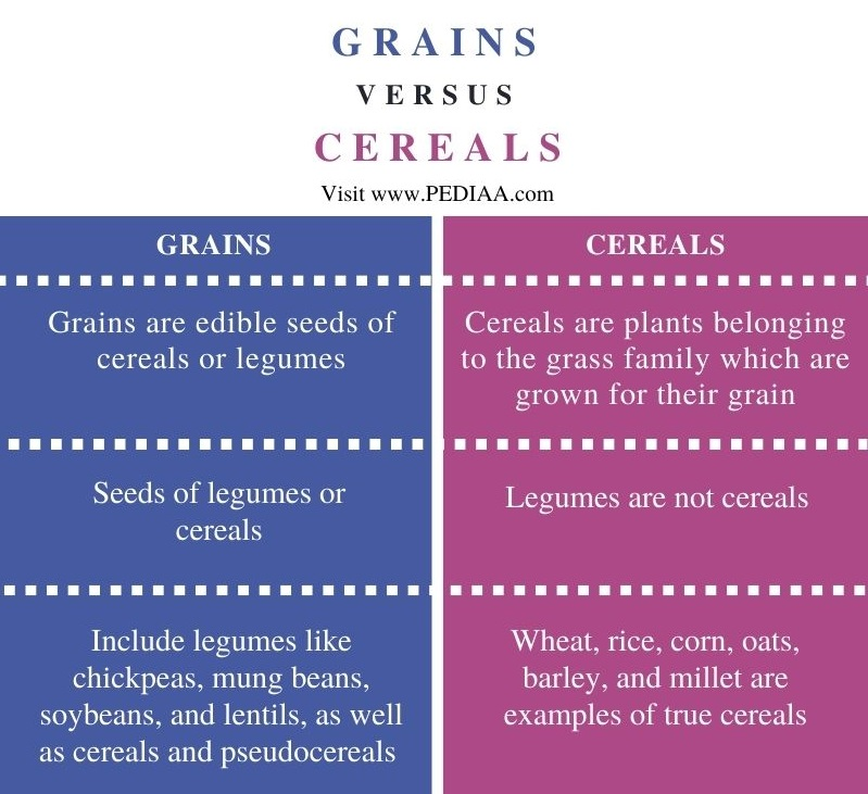 Difference Between Grains and Cereals - Comparison Summary