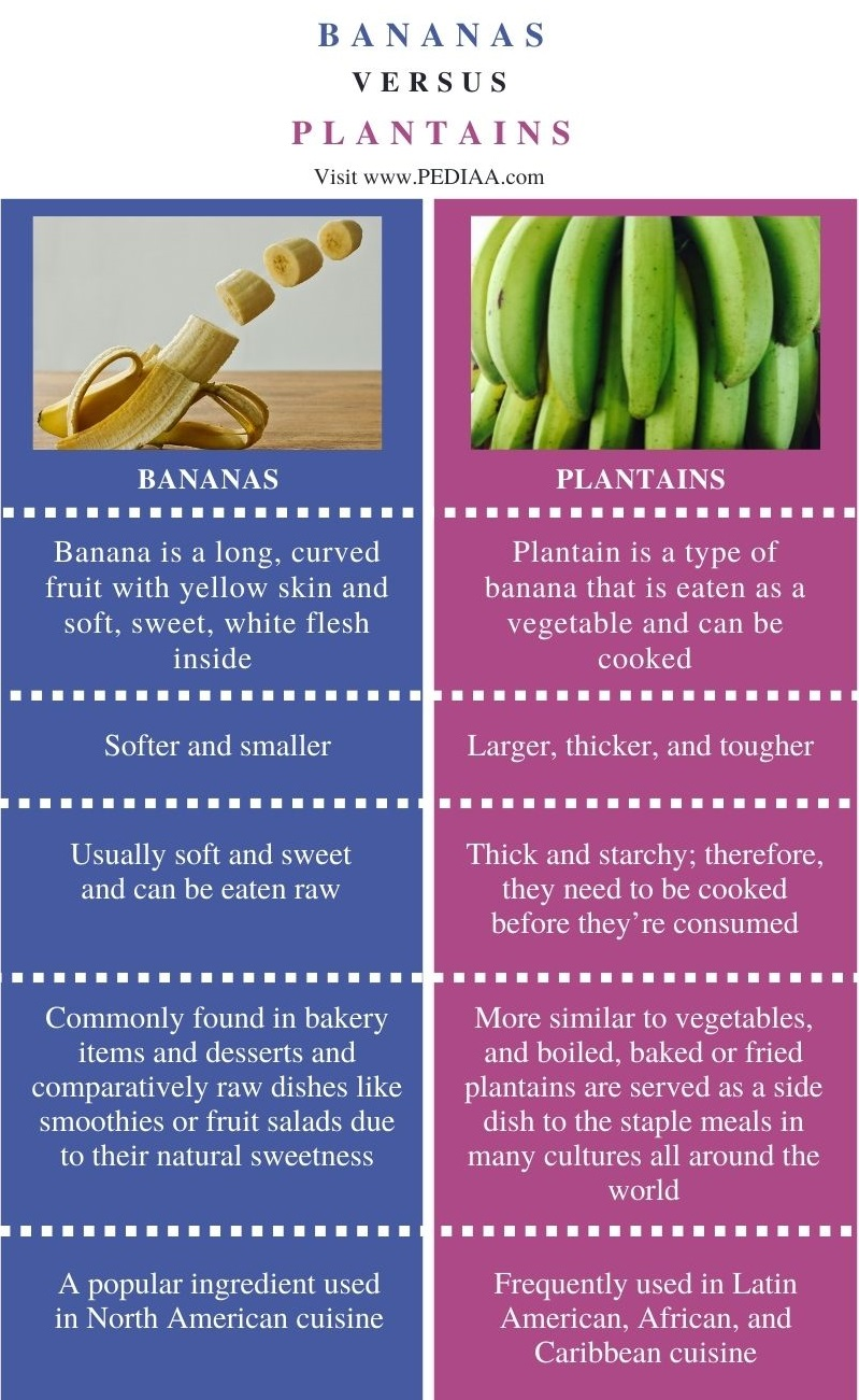 Difference Between Bananas and Plantains - Comparison Summary