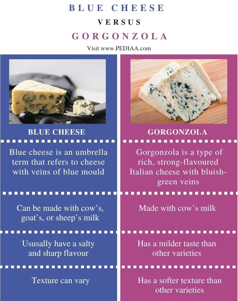 Difference Between Blue Cheese and Gorgonzola - Comparison Summary