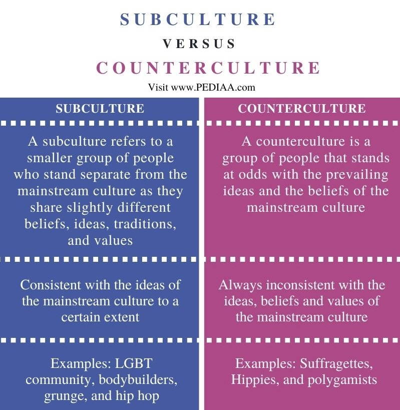 Difference Between Subculture and Counterculture - Comparison Summary